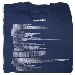 A picture of a T-Shirt with the C implementation of DeCSS written on it.