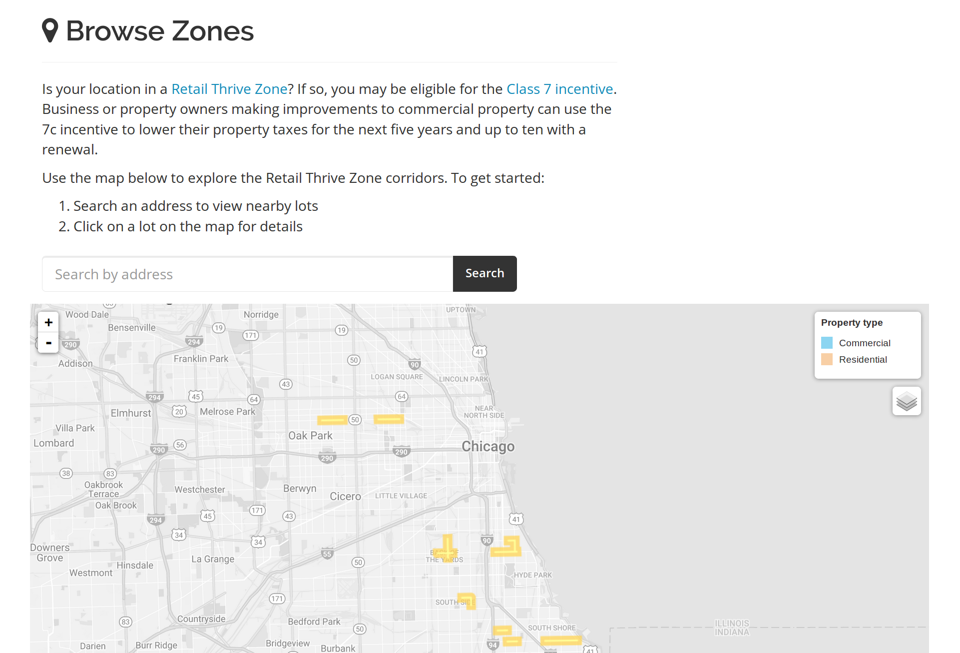 Browse eligible zones
