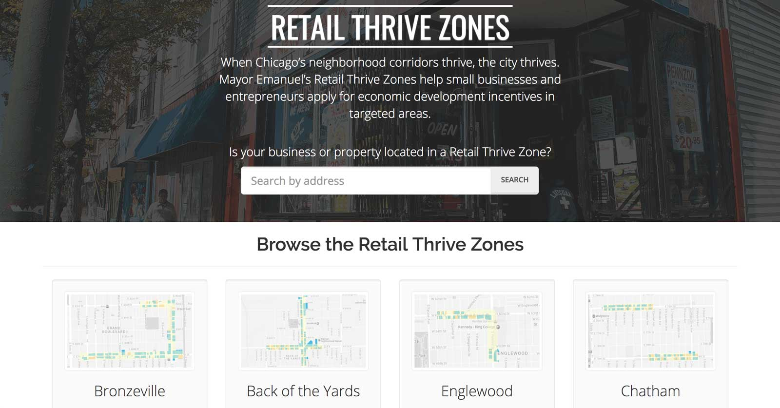 The Retail Thrive Zones home page